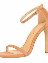 cheap -Women's Sandals Stiletto Heel Open Toe Faux Leather Casual / Minimalism Spring / Summer Black / Brown / Almond