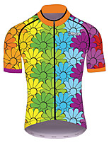 cheap -21Grams Men's Women's Short Sleeve Cycling Jersey 100% Polyester Blue+Green Gradient Bike Jersey Top Mountain Bike MTB Road Bike Cycling UV Resistant Breathable Quick Dry Sports Clothing Apparel