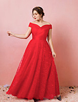 cheap -A-Line Off Shoulder Floor Length Lace / Satin / Tulle Plus Size / Red Engagement / Prom Dress with Criss Cross / Pleats 2020