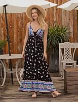 cheap -Women's Maxi Black Dress A Line Floral Strap S M