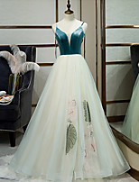 cheap -A-Line V Neck Floor Length Tulle / Velvet Floral / Turquoise / Teal Engagement / Prom Dress with Embroidery 2020