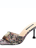 cheap -Women's Sandals Print Shoes Stiletto Heel Square Toe Suede Summer Red / Green