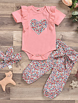 cheap -Baby Girls' Active Boho Easter Print Print Short Sleeve Regular Clothing Set Blushing Pink / Toddler