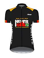 cheap -21Grams Women's Short Sleeve Cycling Jersey 100% Polyester Black / Yellow Bike Jersey Top Mountain Bike MTB Road Bike Cycling UV Resistant Breathable Quick Dry Sports Clothing Apparel / Stretchy