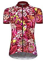 cheap -21Grams Women's Short Sleeve Cycling Jersey 100% Polyester Rose Red Floral Botanical Bike Jersey Top Mountain Bike MTB Road Bike Cycling UV Resistant Breathable Quick Dry Sports Clothing Apparel