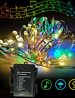 cheap -LED Copper Wire String lLghts Sound Activated Music Sync Fairy Lights 10M 100LED 11Modes Warm White Decorative Lights for Halloween  Christmas Waterproof  New Design  Party 3AA Batteries Powered