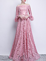 cheap -A-Line Off Shoulder Sweep / Brush Train Polyester Vintage / Pink Engagement / Formal Evening Dress with Sash / Ribbon 2020
