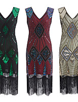 cheap -The Great Gatsby Vintage 1920s Flapper Dress Dress Party Costume Women's Sequin Costume Golden / Green / Red Vintage Cosplay Party Sleeveless