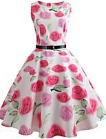 cheap -Women's Party Daily Cute Street chic Swing Dress - Floral Print Patchwork Print White S M L XL
