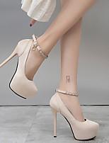 cheap -Women's Heels Stiletto Heel Pointed Toe PU Spring & Summer Black / Pink / Beige