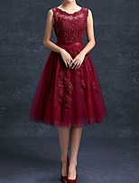 cheap -A-Line Jewel Neck Knee Length Polyester Cut Out / Red Cocktail Party / Party Wear Dress with Appliques / Crystals 2020