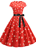 cheap -Women's Party Daily Active Cute Swing Dress - Floral Print Patchwork Print Red S M L XL