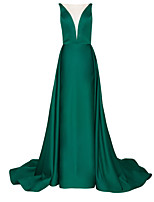 cheap -A-Line Elegant Green Engagement Formal Evening Dress Illusion Neck Sleeveless Court Train Polyester with Pleats Overskirt 2020
