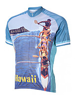 cheap -21Grams Men's Short Sleeve Cycling Jersey 100% Polyester Blue Hawaii Bike Jersey Top Mountain Bike MTB Road Bike Cycling UV Resistant Breathable Quick Dry Sports Clothing Apparel / Stretchy