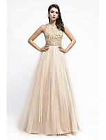 cheap -A-Line Beautiful Back Luxurious Engagement Formal Evening Dress Halter Neck Sleeveless Floor Length Tulle with Beading Sequin 2020