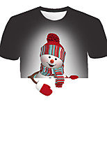cheap -Kids Boys' Basic Street chic Santa Claus Color Block 3D Christmas Print Short Sleeve Tee Gray