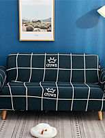 cheap -Blue Check Crown Print Dustproof All-powerful Slipcovers Stretch Sofa Cover Super Soft Fabric Couch Cover with One Free Pillow Case