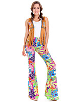 cheap -Hippie Diva Disco 1980s Pants Outfits Vest T-shirt Women's Costume Rainbow Vintage Cosplay Party Short Sleeve