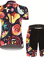 cheap -21Grams Women's Short Sleeve Cycling Jersey with Shorts Black / Blue Floral Botanical Bike Breathable Quick Dry Sports Patterned Mountain Bike MTB Road Bike Cycling Clothing Apparel / Micro-elastic