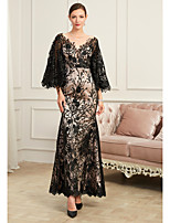 cheap -Sheath / Column V Neck Floor Length Lace / Tulle Sexy / Black Formal Evening / Party Wear Dress with Beading / Appliques 2020