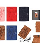 cheap -Case For Huawei Huawei Mediapad T5 10 Card Holder / Flip / Embossed Full Body Cases Solid Colored / Animal PU Leather