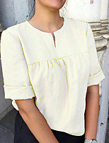 cheap -Women's Daily Blouse - Solid Colored Yellow