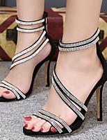 cheap -Women's Sandals Crystal Sandals Stiletto Heel Round Toe PU Spring & Summer Gold / Black