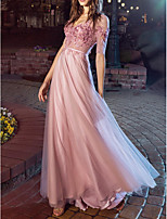 cheap -A-Line V Neck Floor Length Chiffon Sexy / Pink Engagement / Prom Dress with Pleats / Appliques 2020