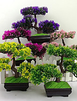 cheap -Artificial Green Plant Welcome Pine Bonsai Artificial Plant Bonsai Small Office Bonsai Decoration