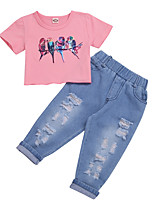 cheap -Baby Girls' Basic Chinoiserie Print Solid Colored Short Sleeve Short Clothing Set Blushing Pink
