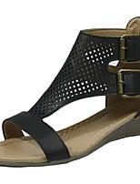 cheap -Women's Sandals Wedge Heel Peep Toe PU Summer Khaki / Brown / Black