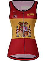 cheap -21Grams Women's Sleeveless Cycling Jersey Cycling Vest 100% Polyester Red / Yellow Spain National Flag Bike Jersey Top Mountain Bike MTB Road Bike Cycling UV Resistant Breathable Quick Dry Sports