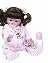 cheap -NPKCOLLECTION 20 inch Reborn Doll Baby Baby Girl Newborn Hand Made Artificial Implantation Brown Eyes Full Body Silicone Silicone Silica Gel with Clothes and Accessories for Girls' Birthday and