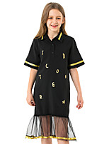 cheap -Kids Girls' Cute Sophisticated Solid Colored Number Ruffle Mesh Patchwork Short Sleeve Midi Dress Black