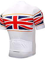 cheap -21Grams Men's Short Sleeve Cycling Jersey 100% Polyester White UK National Flag Bike Jersey Top Mountain Bike MTB Road Bike Cycling UV Resistant Breathable Quick Dry Sports Clothing Apparel