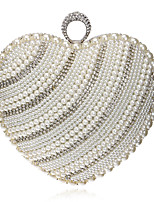 cheap -Women's Pearls Polyester Evening Bag Striped Gold / Silver