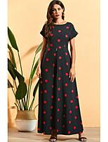 cheap -Women's Maxi Black Dress A Line Polka Dot M L