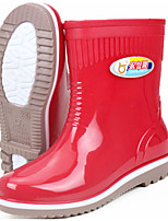 cheap -Women's Boots Flat Heel Round Toe PVC Mid-Calf Boots Spring & Summer / Fall & Winter Red