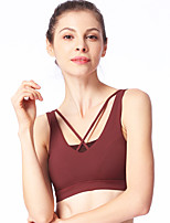 cheap -Women's Yoga Top Bra Top Removable Pad Solid Color Yellow Burgundy Elastane Yoga Running Fitness Bra Top Sleeveless Sport Activewear Breathable Quick Dry Comfortable High Elasticity Slim