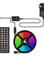 cheap -5m Voice Control Flexible LED Light Strips / Light Sets / RGB Strip Lights 150 LEDs SMD5050 10mm 1 X 40 Key Controller / 1 X 12V 3A Power Supply 1 set Multi Color Waterproof / Cuttable / Party 12 V