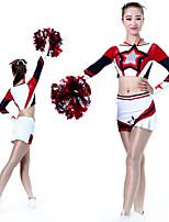cheap -Cheerleader Costume Uniform Women's Girls' Kids Skirt Spandex High Elasticity Handmade Long Sleeve Competition Dance Rhythmic Gymnastics Gymnastics Red