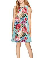 cheap -Kids Girls' Basic Cute Floral Print Sleeveless Above Knee Dress Light Blue