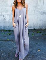 cheap -Women's Maxi Purple White Dress Shift Solid Color Strap V Neck S M / Cotton