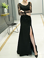 cheap -Sheath / Column Jewel Neck Sweep / Brush Train Polyester Elegant / Black Engagement / Formal Evening Dress with Sequin / Appliques / Split 2020