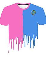 cheap -Kids Boys' Basic Street chic Geometric Color Block 3D Print Short Sleeve Tee Rainbow
