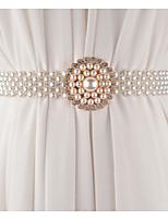 cheap -Metalic Wedding / Party / Evening Sash With Imitation Pearl / Belt Women's Sashes