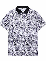 cheap -Men's Daily Going out Rock / Exaggerated Polo - 3D / Animal / Cartoon Black & White / White, Print White