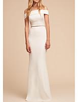 cheap -Sheath / Column Elegant White Engagement Formal Evening Dress Off Shoulder Sleeveless Floor Length Polyester with Sleek Beading 2020