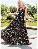 cheap -Women's Maxi Black Dress A Line Floral V Neck S M