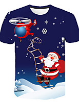 cheap -Kids Boys' Basic Street chic Snowman Color Block 3D Christmas Print Short Sleeve Tee Rainbow